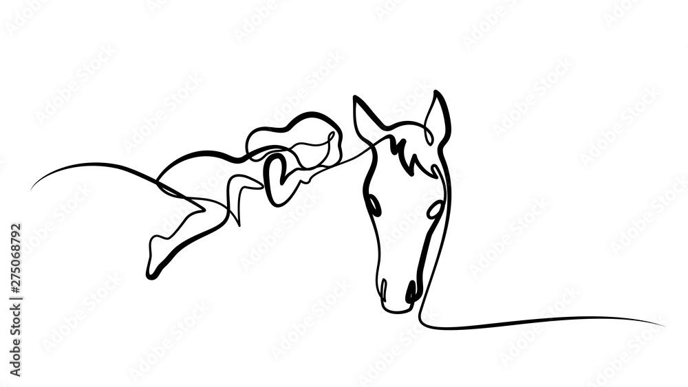 Rysowanie jednej linii. Dziewczyna leży konia <span>plik: #275068792 | autor: Valenty</span>