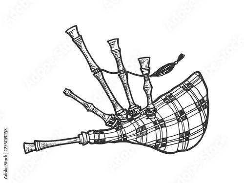 Fotografija Bagpipes instrument sketch engraving vector illustration