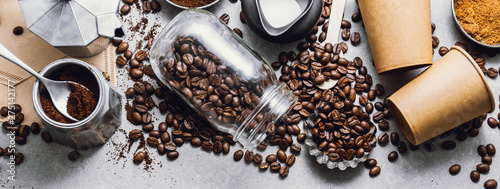 Fotografia, Obraz Ingredients for making coffee flat lay