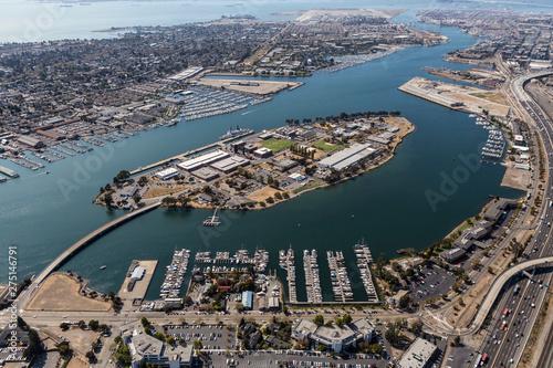 Aerial of San Francisco Bay waterways near Alameda Island and Oakland California Fototapeta