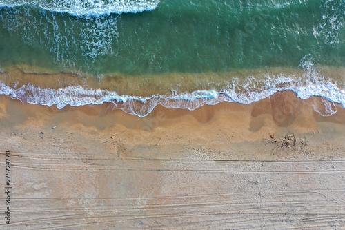 Canvas Print Sandy beach with sea top view