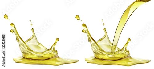 Fotografia Olive or engine oil splash, cosmetic serum liquid isolated on white background