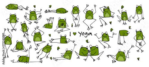 Fotografie, Tablou Funny yoga frog, sketch for your design