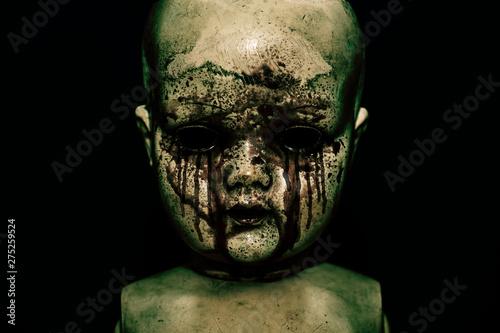 Fotografia Creepy bloody doll in the dark