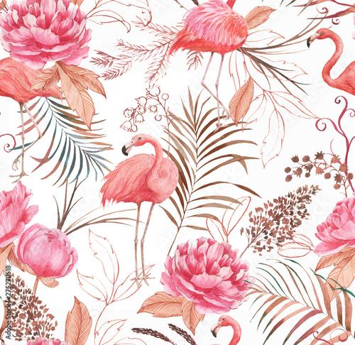 Carta da parati Hand drawn watercolor seamless pattern with pink flamingo, peony and decorative plants