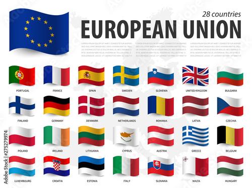 Fotografia European union flag ( EU ) and membership on europe map background