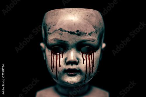 Canvastavla Creepy bloody doll in the dark