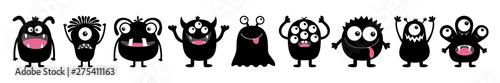 Photo Monster black round silhouette icon set line