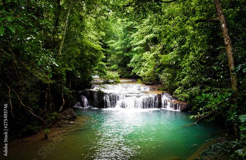 waterfall in forest view ,kanchanaburi waterfall erawan