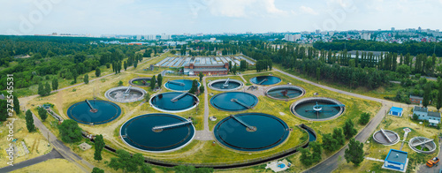 Photographie Modern sewage treatment plant, aerial view from drone