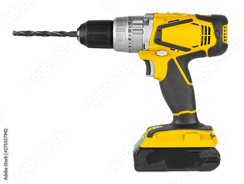Obraz na płótnie Yellow cordless electronic screwdriver drill hand tool isolated white backgroun