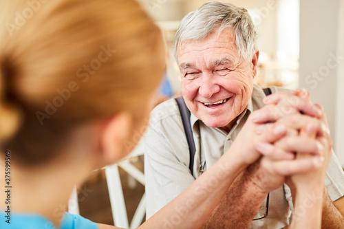 Fototapeta Old man gets hope and is happy