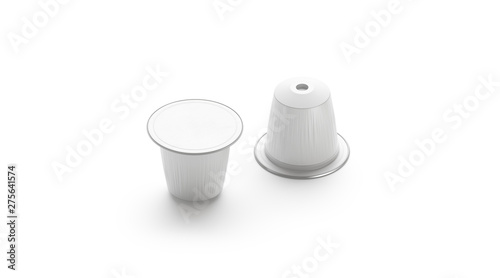 Stampa su Tela Blank white coffee capsule box mock up, isolated, side view, 3d rendering