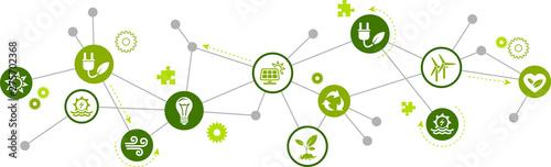 Fotografia renewable / alternative energy icon concept – green electricity sources icons –