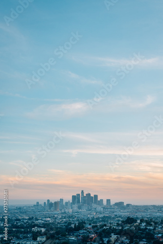 Fototapeta View of the downtown Los Angeles skyline at sunset from Ascot Hills Park