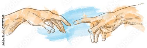 Stampa su Tela creation of adam hand drawn Watercolor painting