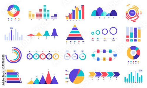 Graphic charts icons. Finance statistic chart, money revenue and profit growth graph. Business presentation graphs, website finance infographic diagram charts. Flat isolated icons vector set