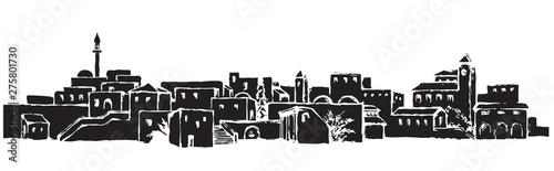 Fotografia, Obraz City in a desert. Vector drawing