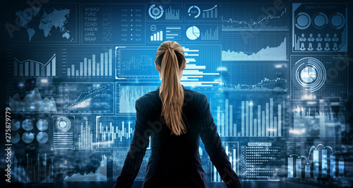 Tablou Canvas Big Data Technology for Business Finance Analytic Concept