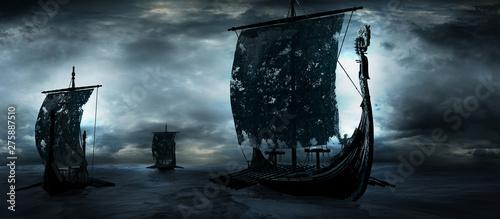 Fotografie, Obraz Three drakkars sailing through the sea