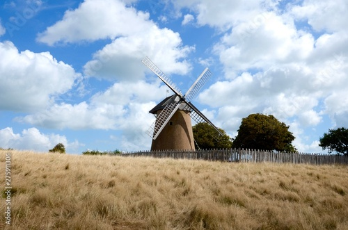 Canvas Print The Bembridge windmill, Isle of Wight is the only windmill left on the island