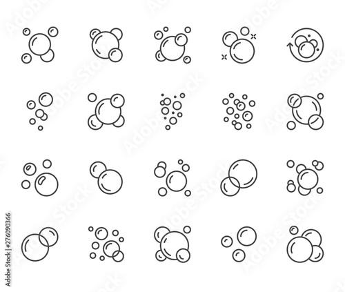 Fotografia Bubbles flat line icons set