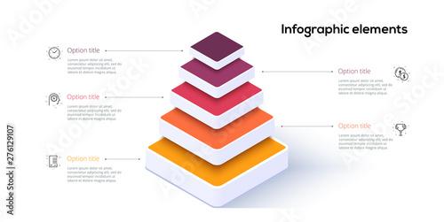 Obraz na plátně Business pyramid chart infographics with 5 steps