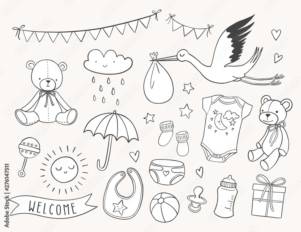 Baby shower hand drawn set. New baby items and icons. Cute doodle illustrations including teddy bear, baby clothes, bib, bottle, cloud, bunting banners, diaper, stork. <span>plik: #276147511 | autor: mgdrachal</span>