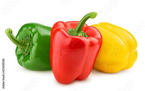 Slika na platnu sweet pepper, red, green, yellow paprika, isolated on white background, clipping