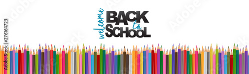 Foto Welcome back to school banner background with a pile of colorful pencils