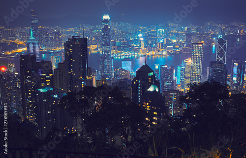 Stampa su Tela View of Hong Kong and Victoria Harbour