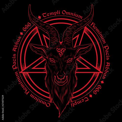 Baphomet demon goat head hand drawn print or blackwork flash tattoo art design vector illustration Tapéta, Fotótapéta