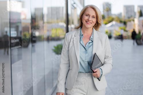 Fényképezés CEO business corporate executive, walking confident, cheerful, positive, bright