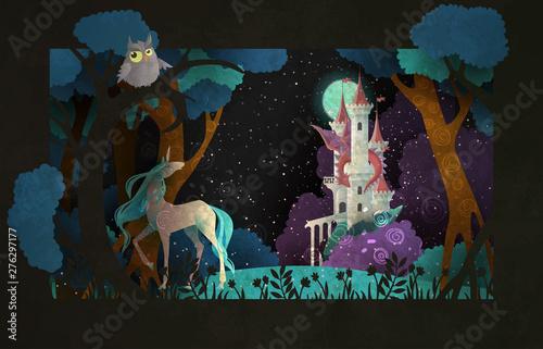 Okładka książki bajkowa ilustracja jednorożec przed zamkiem, smokiem, nocnym niebem i księżycem