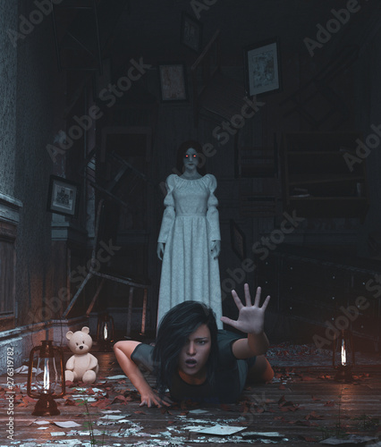 Canvas Print Girl is being terrified by malicious evil who living in a haunted house,3d rende