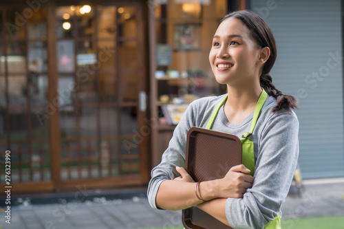 Fotografia smiling happy small business owner, entrepreneur, shop manager looking up and th