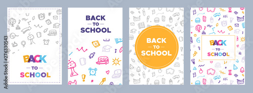 Back to school banner set, simple design for any purposes. Study concept with doodle pattern.