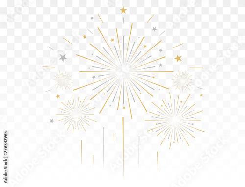 Fotografia Gold fireworks vector illustration