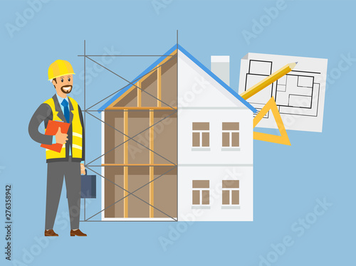 Worker portrait view wearing helmet, contractor character and building house, dr Poster Mural XXL