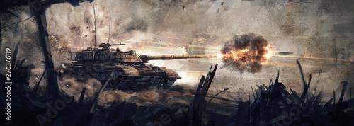 Fotografija The tank is in battle, firing at the enemy