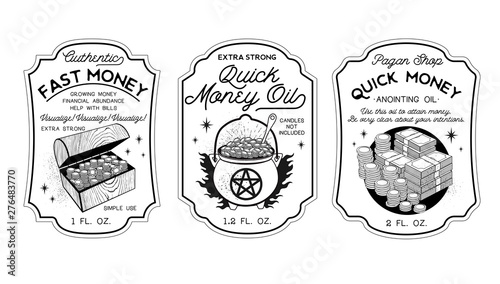 Fotografia, Obraz Money Oil Bottle Labels Potion Labels. Vector Illustration.