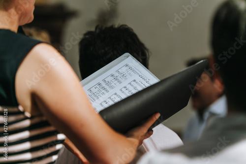 Tableau sur Toile Notenbuch Chor in der Kirche