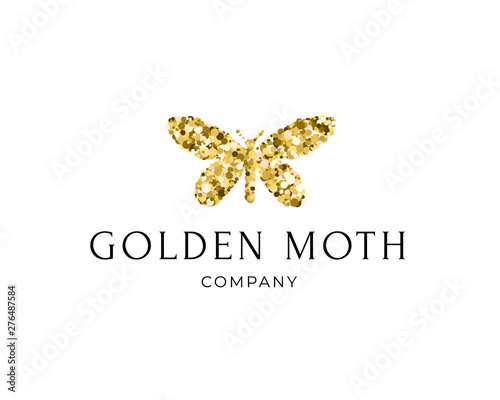 Fotografie, Obraz Butterfly silhouette with golden glitter confetti texture on white background with text Golden Moth