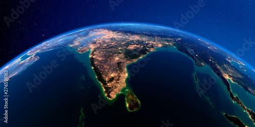 Obraz na plátne Detailed Earth at night. India and Sri Lanka