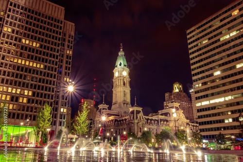 Philadelphia City Hall at Night Tapéta, Fotótapéta