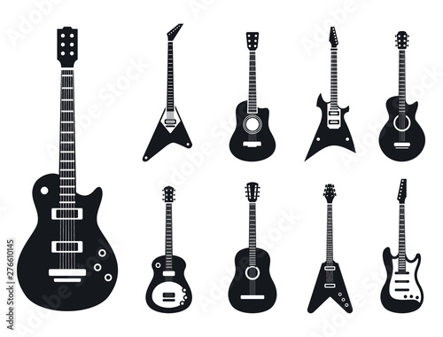 Fotografie, Tablou Electric guitar icons set