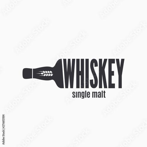Leinwand Poster Whiskey bottle logo. Lettering sign of whisky