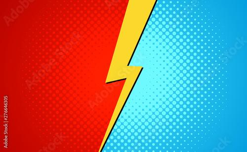 Photo Versus superhero fight comic pop art retro battle design background