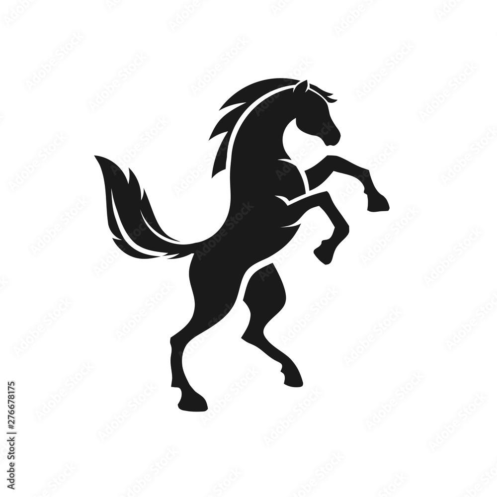 stojący koń widok z boku czarny sylwetka wektor wzór <span>plik: #276678175   autor: krustovin</span>