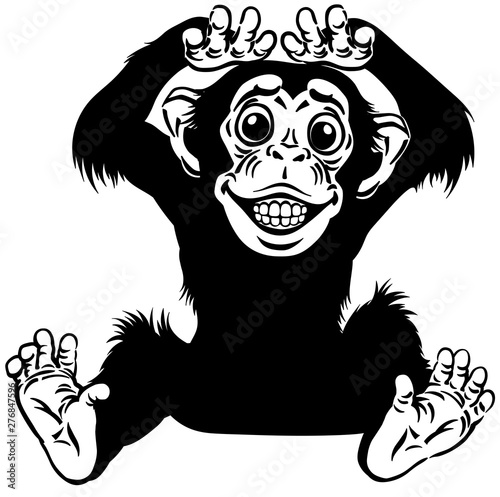 Fényképezés cartoon chimp ape or chimpanzee monkey smiling cheerful with a big smile on face showing teeth